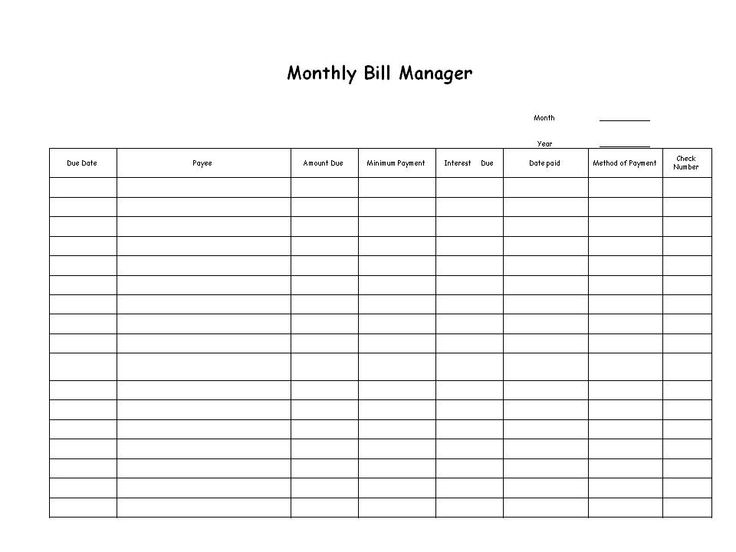 Bill Organizer Chart Download The Pdf Template And Keep Track Of