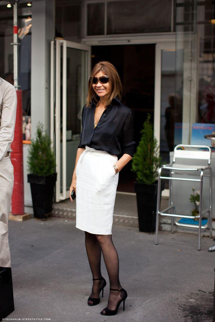Button up shirt, pencil skirt (try a straight skirt?)