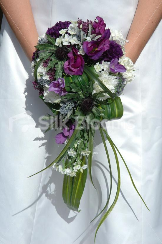Stunning Scottish Shower Bouquet w/ Thistles Carnations & Tartan