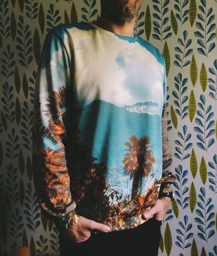The Palm, all-over printed sweatshirt by Pale Grain for Juniqe