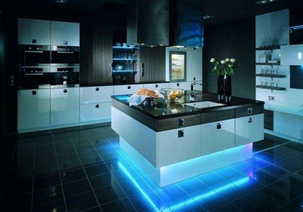 islas de cocina con luz incrustada
