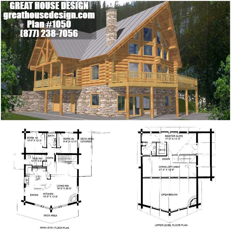 Mountain Log House Plan 1050 Toll