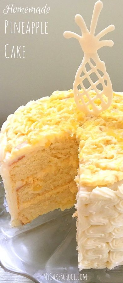 This homemade Pineapple Cake Recipe is the best!! Moist Yellow Cake Layers with Pineapple & Cream Filling and Cream Cheese Frosting. MyCakeSchool.com.