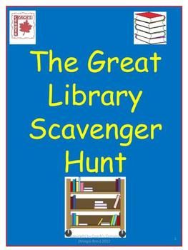 """This free resource uses a """"scavenger hunt"""" activity to help Grades 4 - 8 students better understand how to locate authors, books and topics in the school library.  $0.00"""
