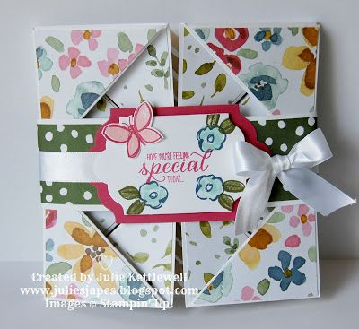 Julie Kettlewell - Stampin Up UK Independent Demonstrator - Order products 24/7: Handkerchief Fold Card