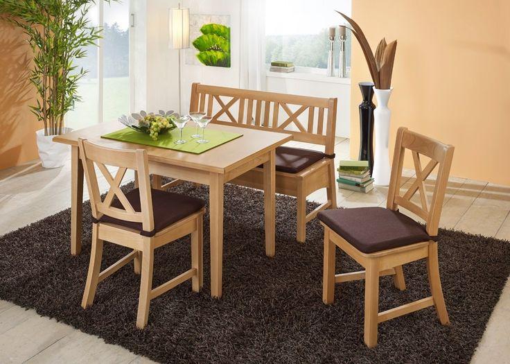 Tischgruppe Bodensee Tisch mit Bank und Stühlen Buche Massivholz 20941. Buy now at https://www.moebel-wohnbar.de/tischgruppe-bodensee-tisch-mit-bank-und-stuehlen-buche-massivholz-20941