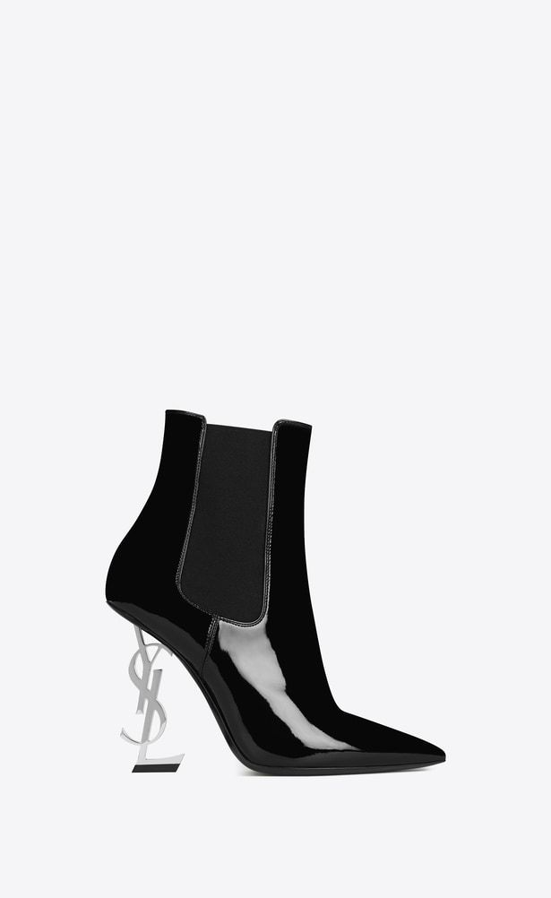 b0032c9ac61 SAINT LAURENT YSL heels Woman OPYUM 110 Ankle Boot Black Patent Leather and  silver-toned Metal a_V4