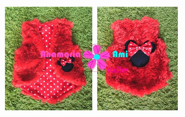 Vestuta blanita rosie mini mouse by Anamaria Ami minnie fur vest girl red