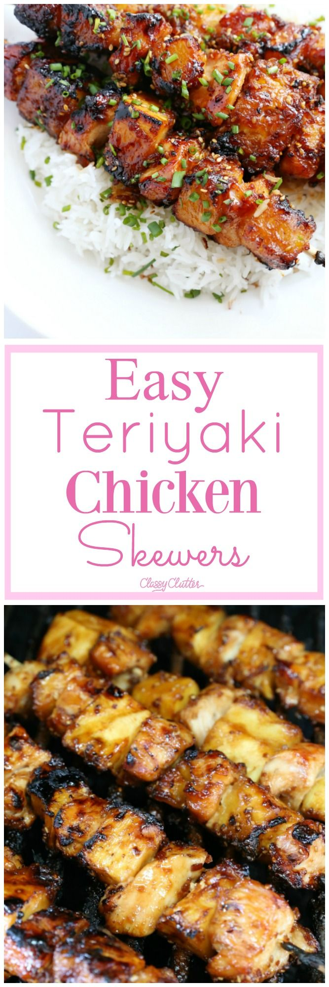 This tasty meal is amazing! I love how easy these teriyaki chicken skewers are to make! Click for the recipe