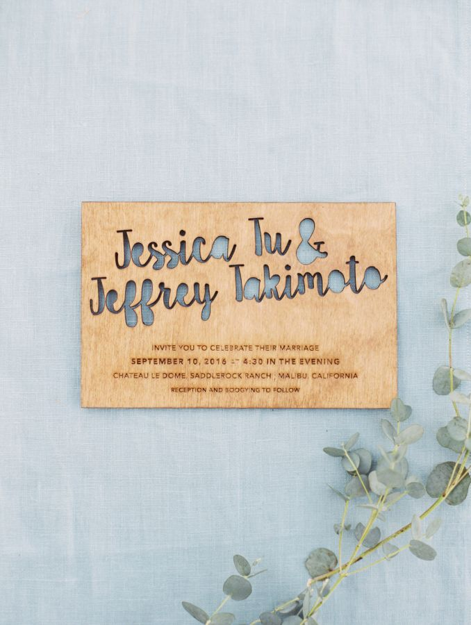 Unique wooden wedding invitation: http://www.stylemepretty.com/2017/04/06/a-whimsy-filled-watercolor-ranch-wedding/ Photography: The Great Romance - http://thegreatromancephoto.com/
