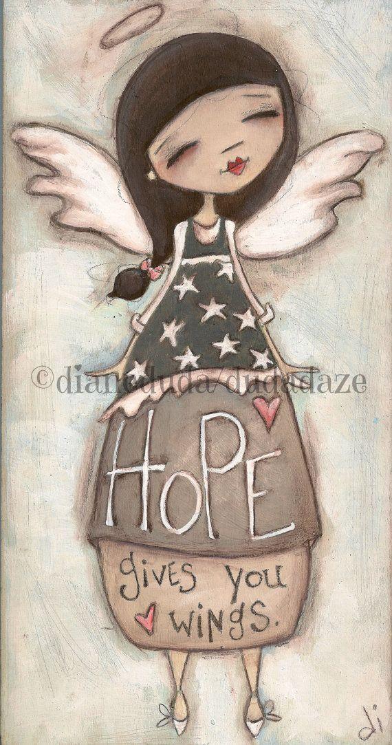 Print of my original folk art angel painting Hope by DUDADAZE
