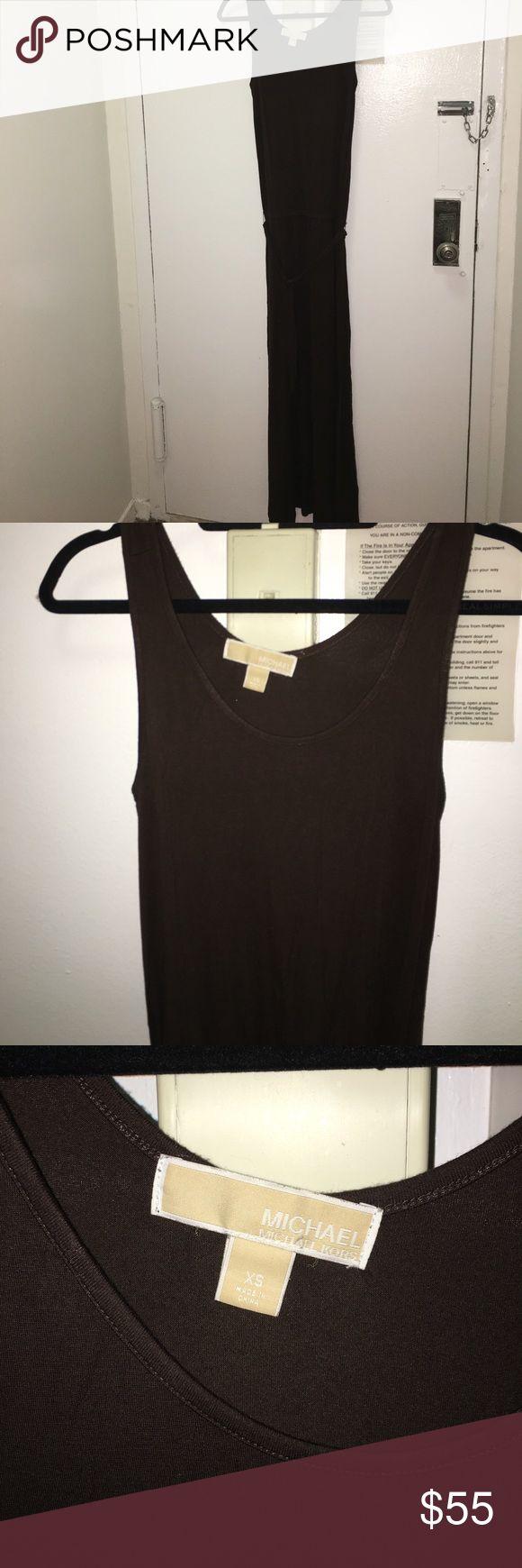 Michael Kota dark brown maxi dress! Michael Korea dark brown maxi dress. Runs pretty long, sinched at the waist with a tie belt. Cotton material and super comfortable. Michael Kors Dresses Maxi