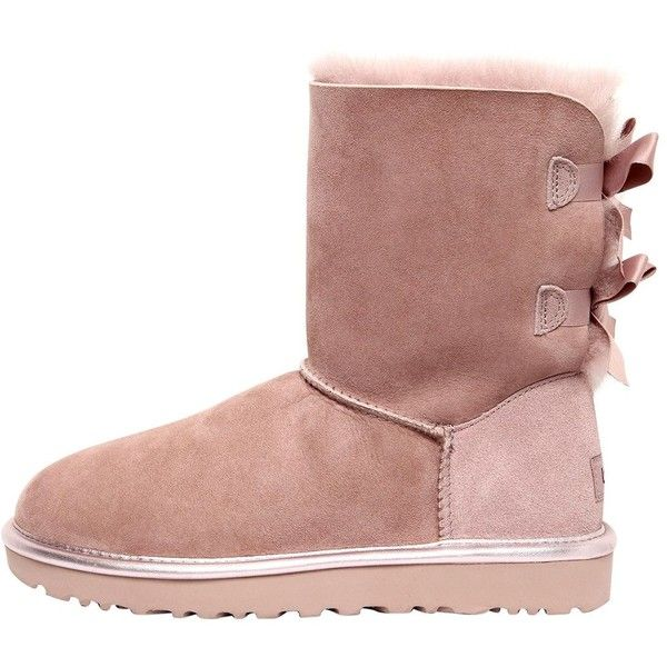 Ugg Australia Women Bailey Bow Metallic Shearling Boots ($360) ❤ liked on Polyvore featuring shoes, boots, pink, self tying shoes, ugg shoes, pink ribbon boots, shearling lined shoes and pink metallic shoes