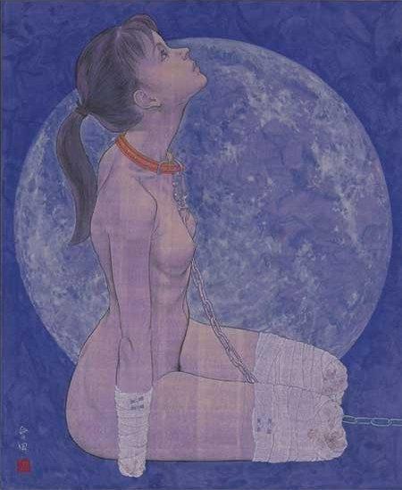 "Aida Makoto ""A dog"" ( the moon of ""snow, the moon and flowers"") 犬 (雪月花のうち""月"") (1996)"