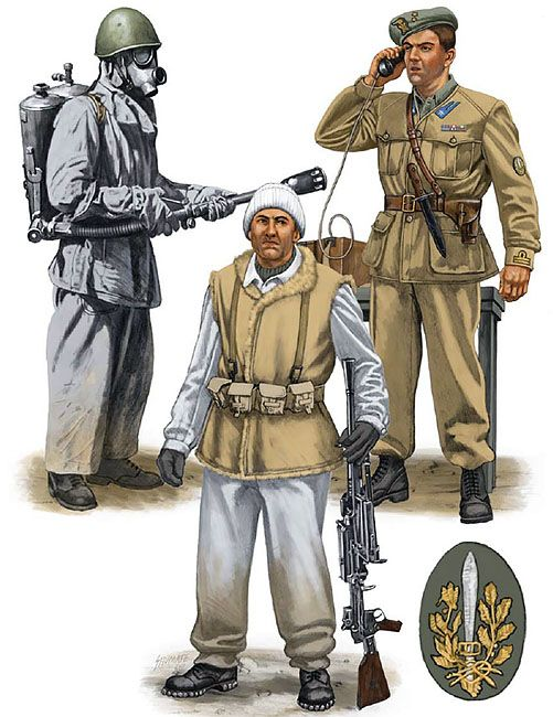 """Assault Engineers, Ski Battalio & Arditi""  • Flammiere, Guastatori; Trieste, Italy, 1941 • Tenente, X Reggimento Arditi; Italy, 1943 • Alpino light machine gunner, Battaglione Sciatori Monte Cervino; Ukraine, 1942"