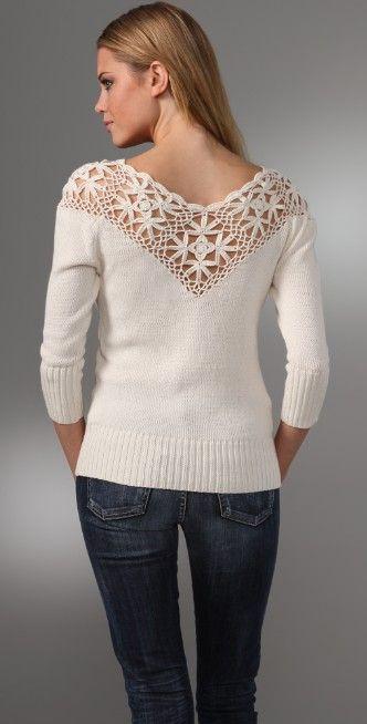 Beyond Vintage Crocheted Yoke Sweater | SHOPBOP