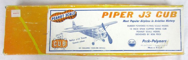 Peanut Scale Piper J3 Cub Rubber Powered Flying Airplane Model Balsa Tissue Kit