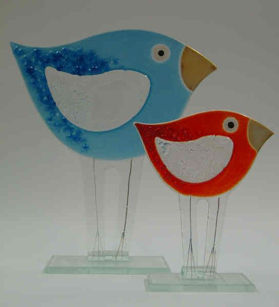 Free standing fused glass birds