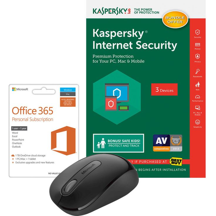 Microsoft - Office 365 Personal, Kaspersky Internet Security 2017 & Wireless Mouse Package