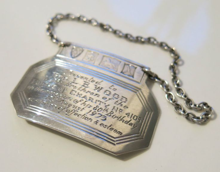 RARE VINTAGE STERLING SILVER MASONIC DECANTER LABEL LODGE CHARITY No.4105 1973