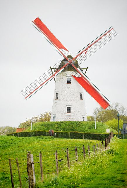 Windmill in Belgium.(We saw many windmills similar to this in Brugge, Belgium.ca)