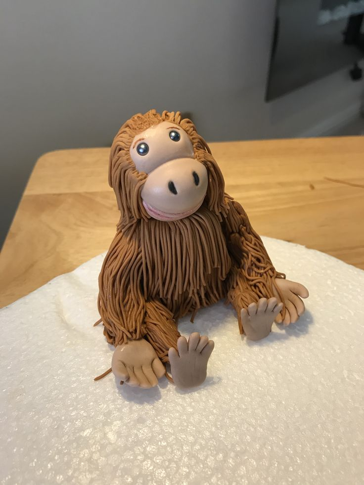 """Monkey cake topper made by me at """"my Mummy's cakes """""""