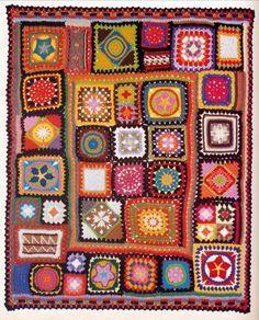 Vintage Crochet Pattern 1970s Granny Square Afghan Crazy Quilt PDF. $3.00, via Etsy.