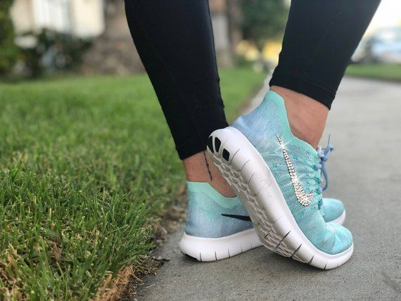 4f2e26ec518e12 Bling Nike Free RN Flyknit 2017 Shoes Hand Customized with Genuine  Swarovski Crystals. Perfect for yourself or that special someone! Size(s)   US Womens 6
