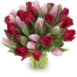 Dit liefdevolle boeket kan ieder hart doen smelten… Een schattige mix van roze en rode tulpen zorgvuldig handgebonden door de bloemist.