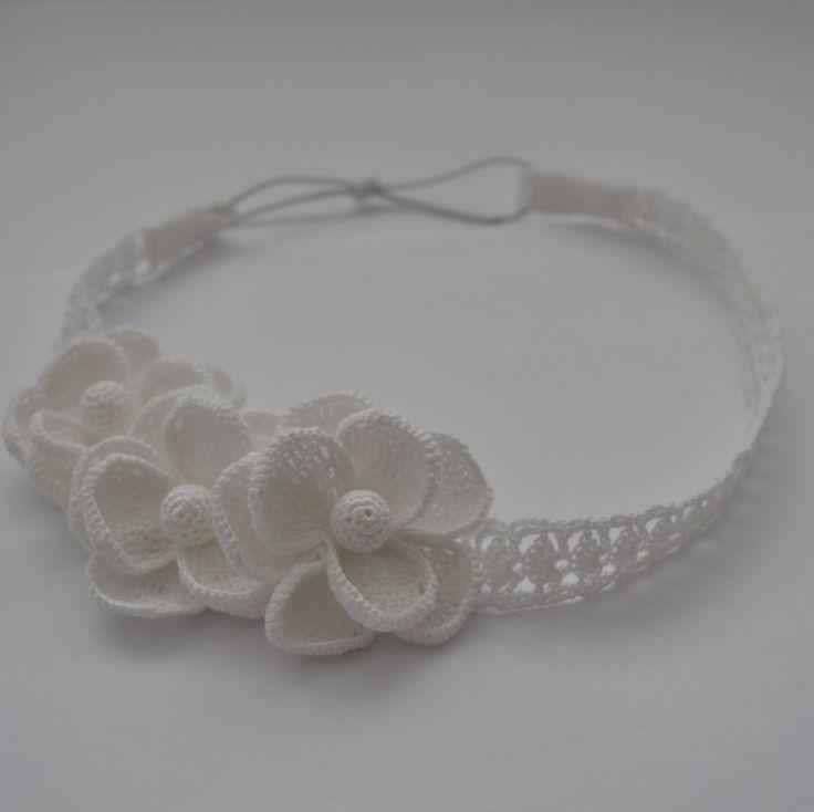 ✿  ✿ Romântica Flor rendas chique gasto Bacinete Crochetar -  / ✿  ✿ Romantic Shabby Chic Headpiece Crochet lace Flower -