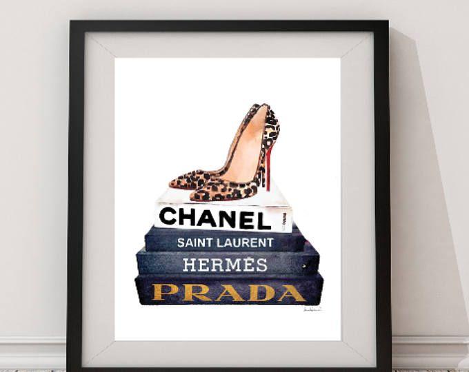 Manera de Ilustración, zapatos, arte de la pared, impresión del leopardo, diseñador de moda, libros, acuarela, cuarto de baño, moderno, dormitorio, perfume, oro, regalo para