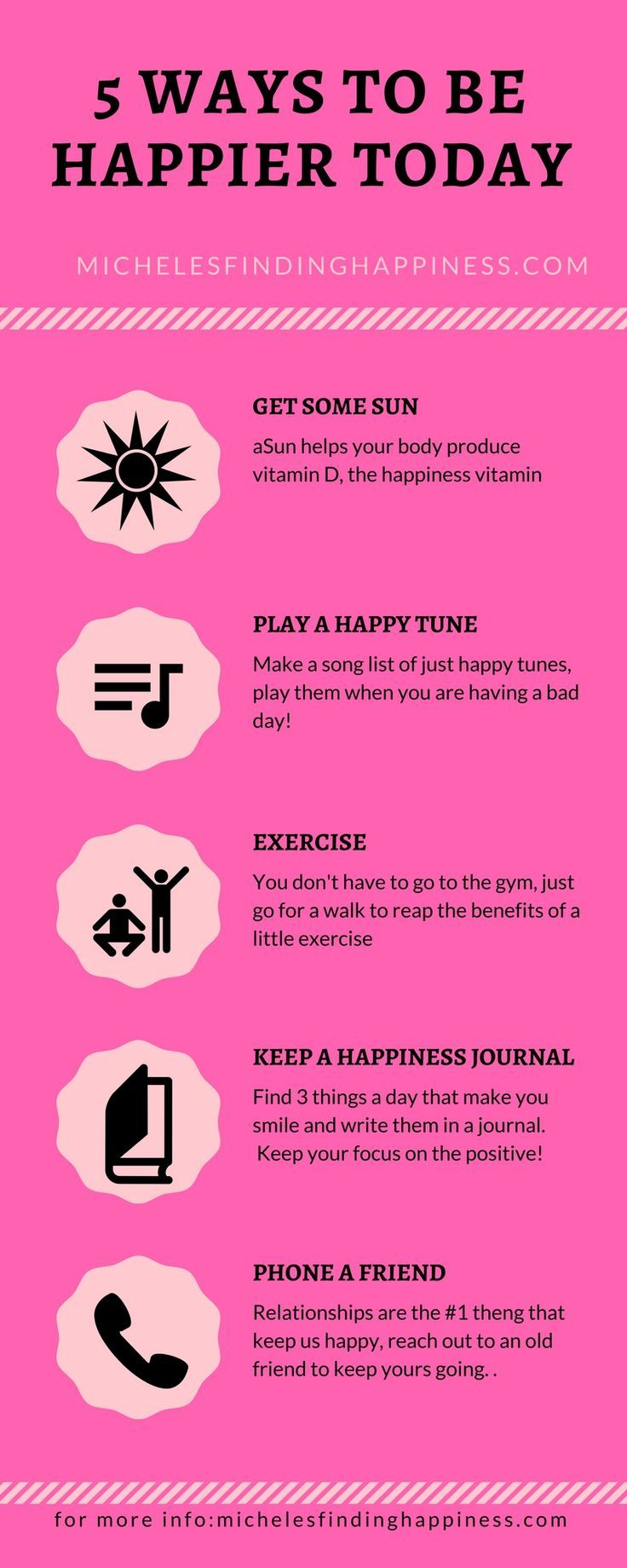 Happiness is sometimes a fleeting thing.  Try these 5 happiness tips to boost your mood today.