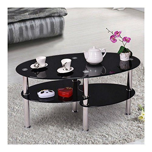 Black Glass Tempered Clear Black Glass Oval Side Coffee Table