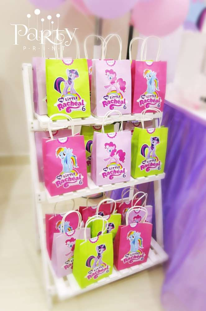 Favor bags at a My Little Pony birthday party! See more party ideas at CatchMyParty.com!