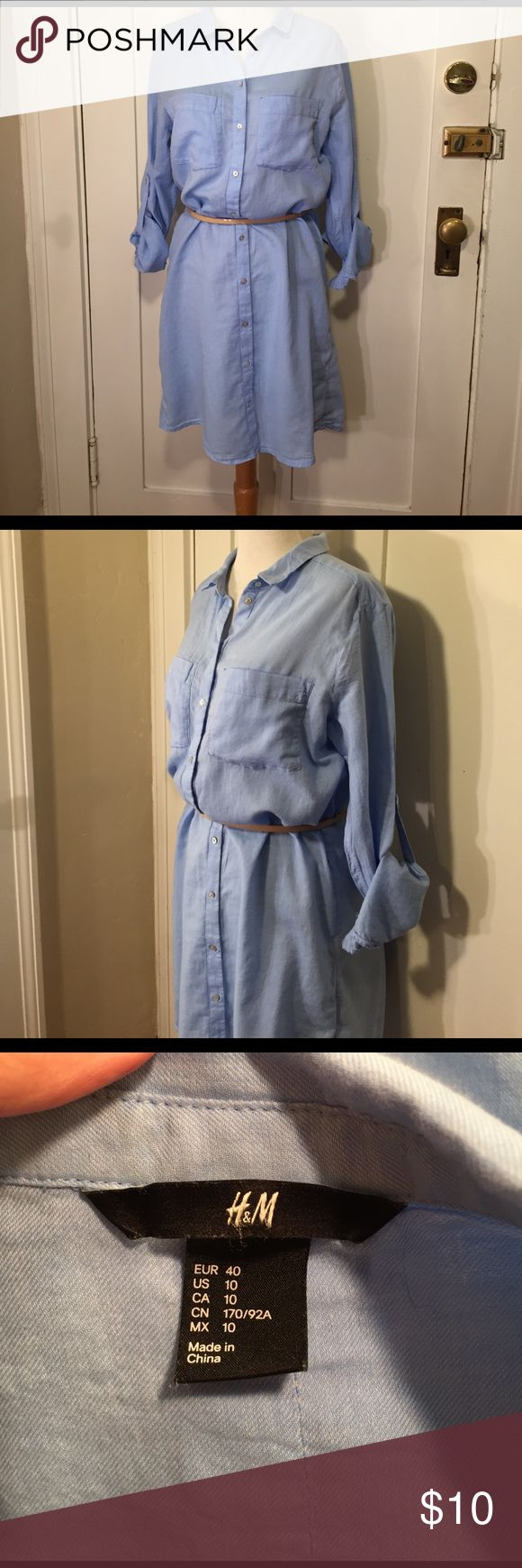 H&M light blue shirt dress Roll sleeves This is a cute light weight light blue shirt dress from H&M, belt loops, does not include belt, rolled sleeves, two front breast pockets, button-down front. See pictures for details. Good condition minor wear. Be sure and check the other items in closet and bundle to receive discounts. H&M Dresses