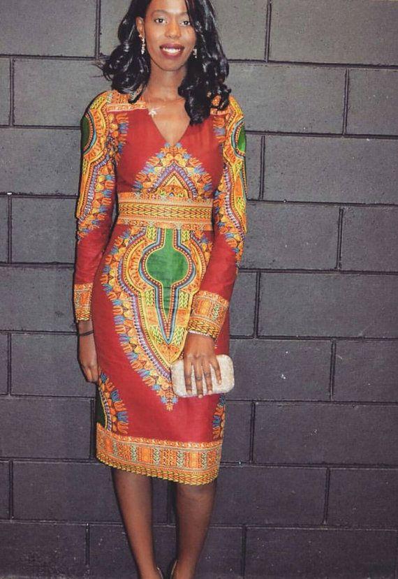 African /ethnic /dashiki with long sleeves women dress
