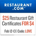 Restaurant.com Certificates ~ Pay Only $4 for $25 Certificates!