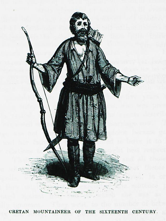Ενδυμασία ορεσίβιου Κρητικού του 16ου αιώνα. Πρωτότυπος τίτλος Cretan mountaineer of the sixteenth-century. Χρονολογία έκδοσης 1837 Έκδοση PASHLEY, Robert. Travels in Crete, τ. II, Λονδίνο, John Murray, MDCCCXXXVII [=1837]. Ιδιωτική Συλλογή