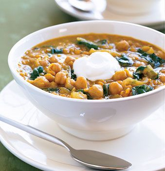 Curried red lentil & swiss chard stew with garbanzos: edit- used 2.25 c. lentils, 1.5 can garbanzo (what I had), 10 cups broth, LOTS of greens, cumin, lots of curry, cayenne, onion, garlic, 3 carrots.  No yogurt, but still yummy.
