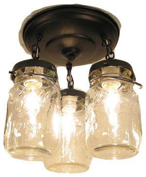 Mason Jar Ceiling Fan LIGHT KIT, Oil Rubbed Bronze - Farmhouse - Ceiling Fan Accessories - by The Lamp Goods