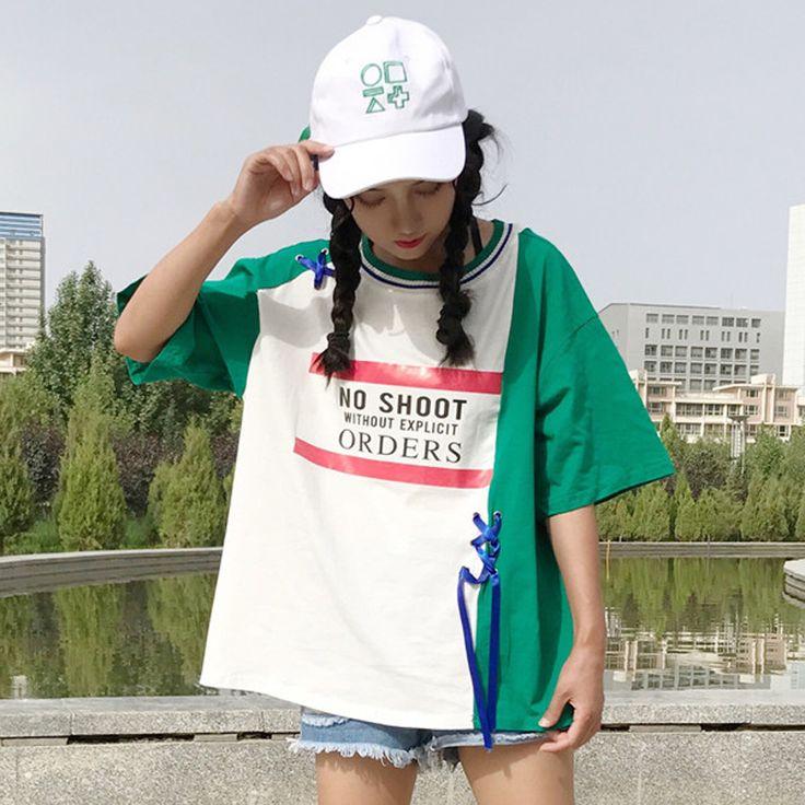 原宿系 ロゴ 半袖 Tシャツ ファッション レディース カラフル ダンス 衣装 派手 カワ 個性的 かわいい 奇抜 青文字系 トップス