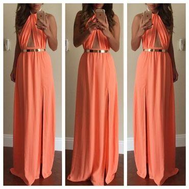 Halter Light Orange Maxi Dress with Slit