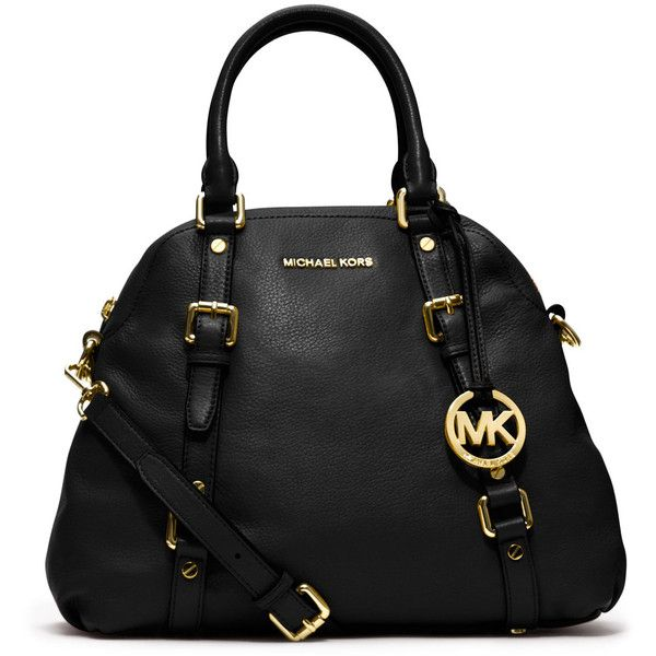 MICHAEL Michael Kors Large Bedford Pebbled Bowling Satchel ($398) ❤ liked on Polyvore