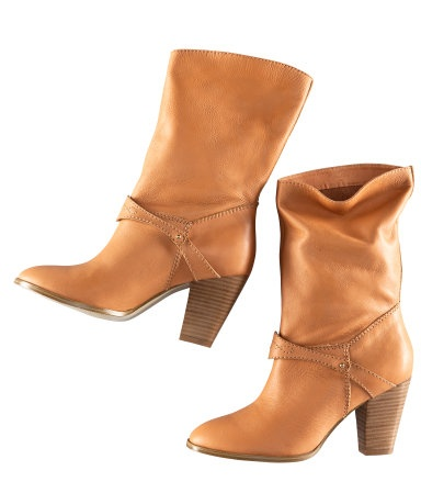 H leather boots with satin lining $99