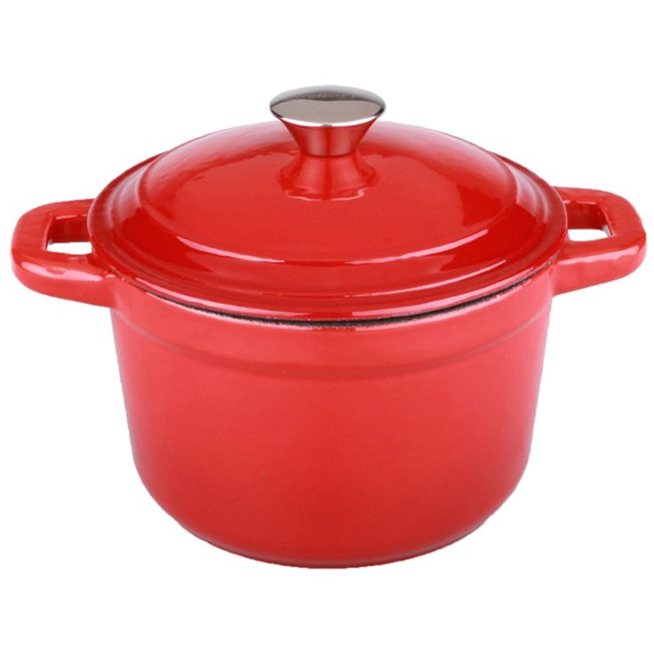 BergHOFF Neo 7-quart Red Cast Iron Round Covered Dutch Oven (Red), Size 7 Quart