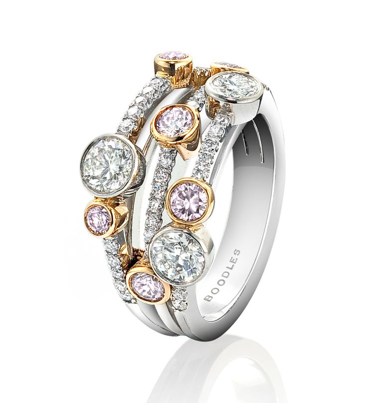 A limited edition striking, contemporary ring from Boodles' Waterfall collection, featuring pink and white diamonds.