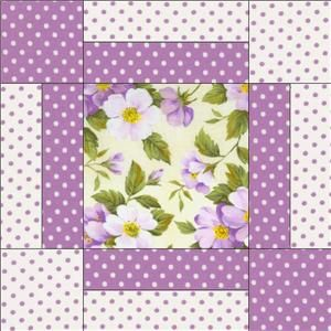 Image detail for -Purple Dot Green Floral Pre Cut Quilt Block Kit Fabric | eBay