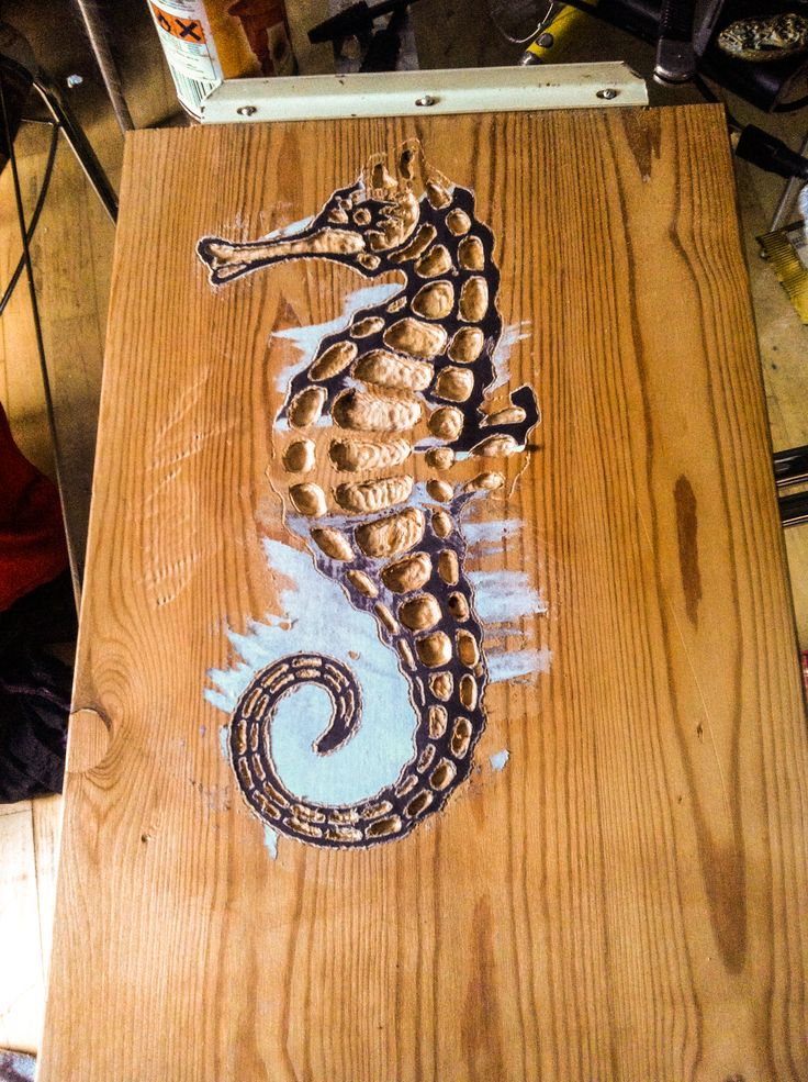 Almost done with the top carving part of this seahorse. Next step is to cut it out and come up with a bottom design - 11-03-2015  #seahorse #proxxon #dremel #carving #upcycle #reclaimed