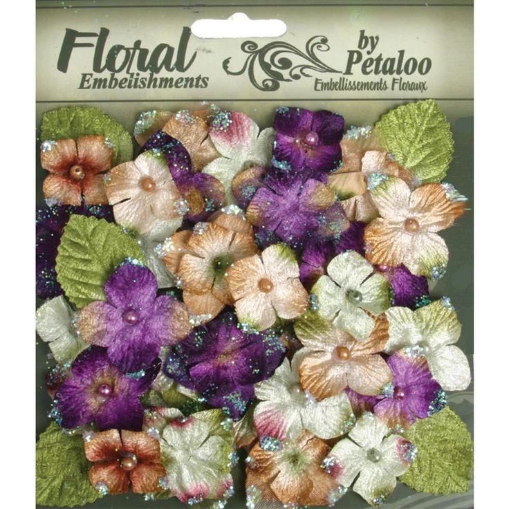 36 x Chantilly Violet Velvet Flowers Leaves mixed Petaloo Hydrangeas