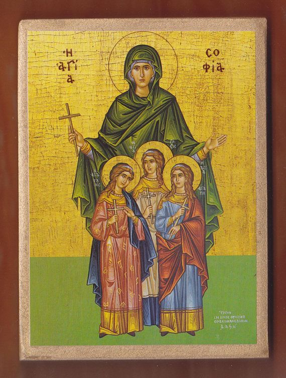 Orthodox icon of Saint Sophia and Daughters.Christian orthodox